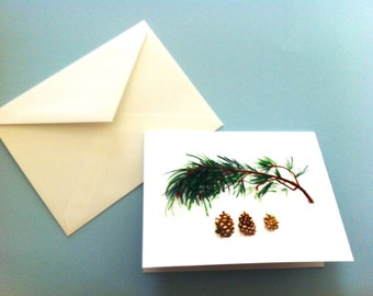 Watercolor Card - Pine Cones and Pine Branch
