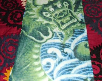Vintage Fierce Dragon Maxi Skirt in Nylon Mesh lined with Metallic gold and green stretch fabric