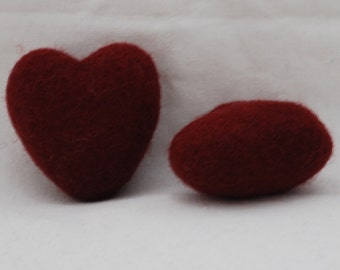 100% Wool Felt Heart - 2 Count - 6cm - Wine Red