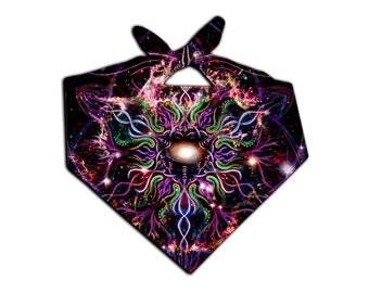 Space Mandala Artwork Bandana | Best EDM Raver Nebula Headband | Psychedelic Galaxy Festival Headband | Buy 5 Get 1 FREE