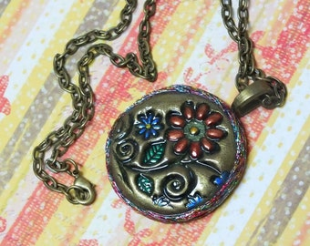 Boho Hippie Daisy Flower Pendant Necklace Polymer Clay Jewelry, Antique Gold, Red and Blue Flowers, Whimsical Fun Jewelry