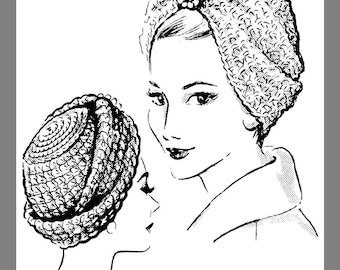 PDF: Vintage Mail Order Crocheted Turban Head cover Crocheting pattern # 5130 Copy / Reprint PDF Delivery