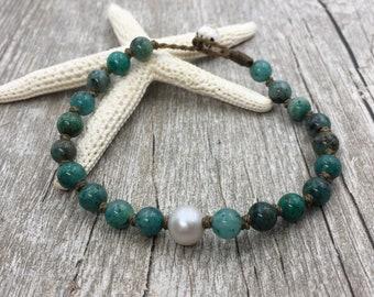 Pearl Bracelet, Beach Boho Bracelet, Cuprite, Knotted Bracelet, Beach Jewelry, Waterproof Gift for Her, Freshwater Pearl Bracelet