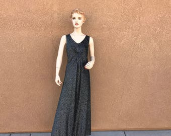 Vintage 1970's Gown ~ Silver And Black Mesh Long Dress ~ Sleeveless And Lined Black ~  Made In The USA , Size Medium ~ Excellent Condition