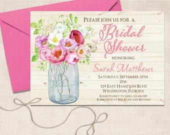 Mason Jar Bridal Shower Invitation, Bridal Shower Invite, Wedding Shower, Rustic Bridal Shower, Mason Jar Invitation, Printable Invitation