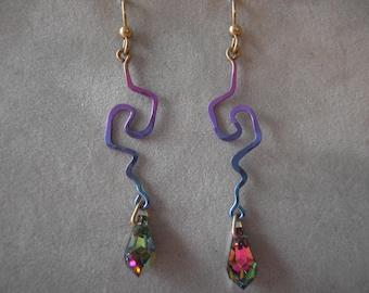 Earrings-Vintage Sozra Niobium and Swarovski Earrings