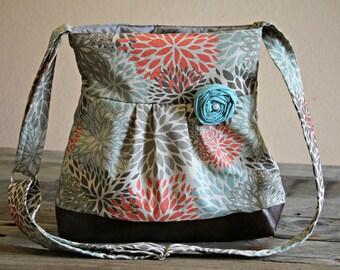 Handbag, Crossbody Purse, Messenger Bag, Medium Faux Leather Bag, Flower Purse, Floral Aqua and Red Handbag, Vegan Leather, Pleated Purse