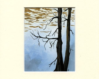"""Gold Tree III - Acrylic painting on canvas & 24ct gold - 4"""" x 5"""" + mount - by UK artist ED Crow"""