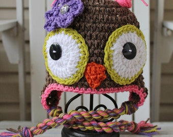 Owl Hat, Crochet Owl Hat, Girl Owl Hat, Kids Hats, Animal Hats, Owl Beanie, Baby Hats, Baby Beanies, Kids Beanies, Infant Hat