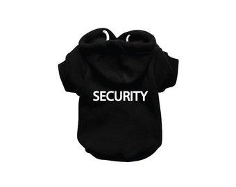 SECURITY Dog Sweatshirt Hoodie - Dog Sweater - Dog Jumper - Printed Dog Clothing - Black Dog Hoody