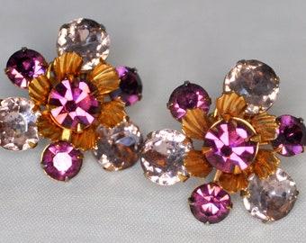 ON SALE Vintage Purple and Violet Amethyst Earrings Beau Jewels - Rare