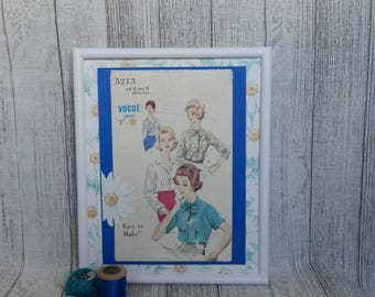 Sewing room decor.  Vintage sewing  pattern in frame.  Gift for crafter or vintage lover.