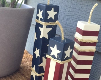 LARGE Patriotic Firecrackers• Set of 3 • 4th of July • Memorial Day • Veteran's Day • Red, White & Blue