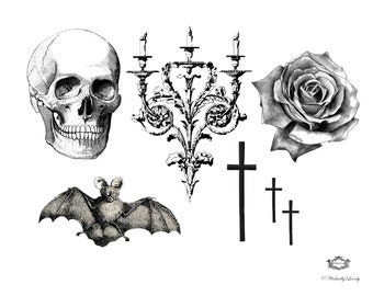 Gothic, a Wickedly Lovely Skin Art Temporary Tattoo set, perfect for halloween, includes 7 tattoos