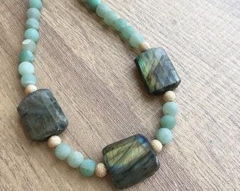 Green Aventurine and Labradorite Necklace