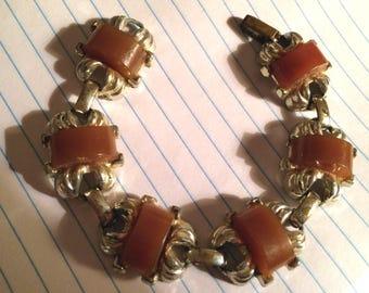 Vintage 1960's - Gold Tone Metal Bracelet with Caramel Color Plastic Insets