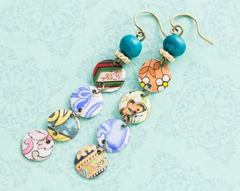 Multicolored Boho Patchwork Earrings with Vintage Tin and Vintage Teal Wooden Beads, Reclaimed Jewelry, Hippie Earrings
