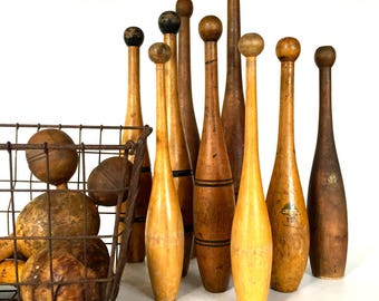 Pair of Antique Wooden Juggling Pins, Circus, Indian Clubs, Wooden Clubs,