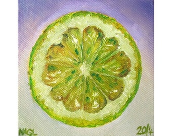 Lemon Lime (April 2014) original still life oil painting study on box canvas