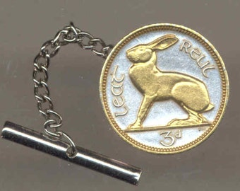 Tie tack - Irish  Rabbit, Gorgeous 2-Toned Gold on Silver  coin - Tie or Hat tack