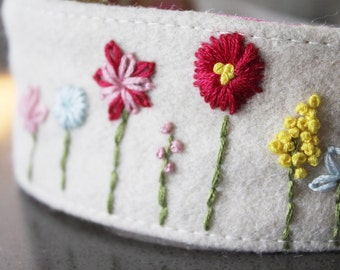 Garden embroidered Organic Hairband Headband felt OOAK 12M - teen/adult ready to ship pink blue purple white