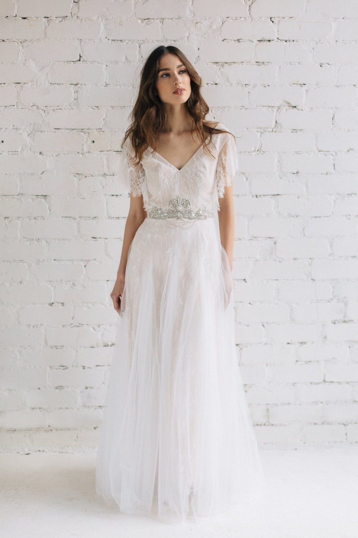 Boho Kleid Brautkleid Swarovski-Kristall Hochzeit Kleid