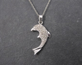 Vintage 10K White Gold Diamond Dolphin Pendant Necklace