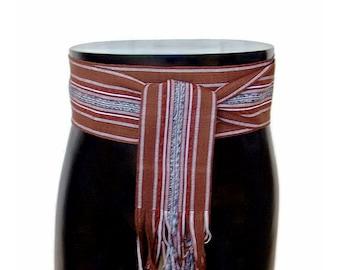 Woodsman Brown Woven Belt SA18 - Ikat Fabric Sash - Renaissance Gypsy Clothing - Guatemalan Textiles - Bohemian Accessories - Pirate Belt