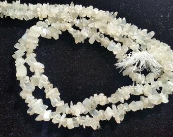 """White Moonstone Chips 15"""" Pack of 2 strands"""