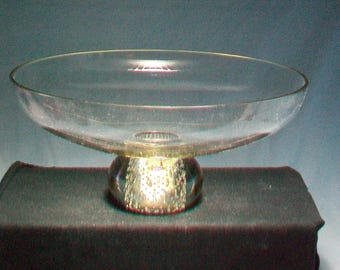 Large Erickson Glass Clear Paperweight Base Compote