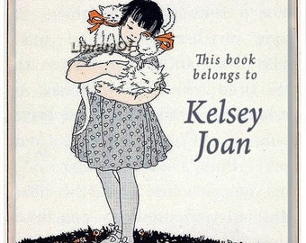 Personalized Bookplates - A Girl And Her Cats -  ADHESIVE bookplates, vintage art, kittens