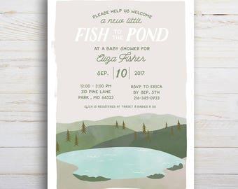 Fish Pond, Baby Shower, Printable Invitation
