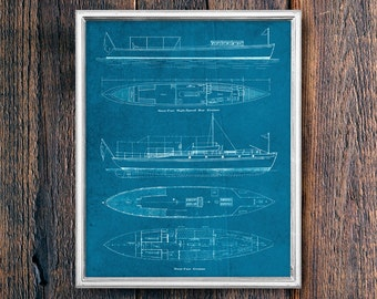 Boat Patent Blueprint, Vintage Lake House Sign PRINTABLE Art Download, Ocean Coastal Art, Instant Download Cabin Decor (#16531b)