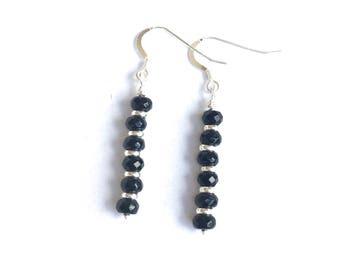 ONYX EARRINGS black gemstone earrings black dangle earrings black drop earrings 925 sterling silver ear hooks black earrings