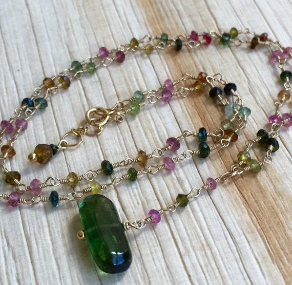 Tourmaline Gemstone Necklace / Genuine Tourmaline Necklace / Green Tourmaline / Gift For Her / October Birthstone / Wedding Gift / Bridal
