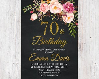 70th Birthday Invitation,Floral Women Birthday Invitation, Chalkboard Birthday Invite, Womens 70th invite,  50th, 60th, 80th, 90th 042