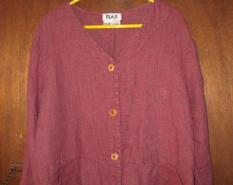 Womens Vintage Flax Jeanne Englehart Linen Shirt Jacket L Large Textured Weave