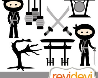 Black Japanese Ninja clipart / Go Ninja Go / commercia use clip art / instant download