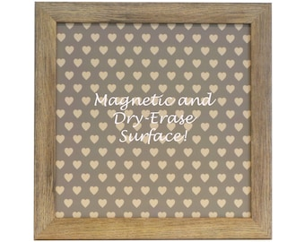 Magnetic Board - Magnet Board - Dry Erase Board - Framed Bulletin Board - Office Wall Decor - Repeating Hearts Design - includes magnets