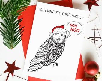 Funny Love Christmas Cards | Mariah Carey | Funny Owl Pun | Husband Wife Girlfriend Boyfriend Christmas Card