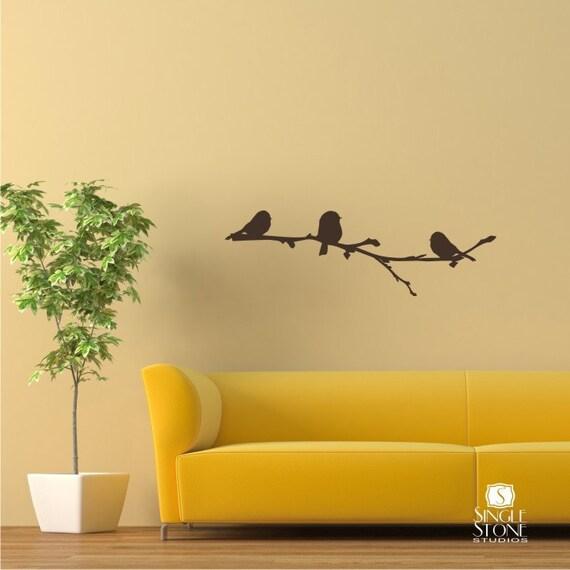 Winter Birds on Branch Wall Decal Vinyl Wall Stickers Art