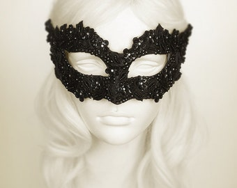 Sequined Black Masquerade Mask With Rhinestones And Embroidery - Embellished Venetian Style Black Masquerade Ball Mask