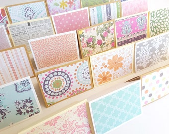 """2.5"""" x 3.5"""" Mini Note Cards with Envelope / Assorted Patterns Note cards / Thank You Cards / Various Patterns / Set of 12"""