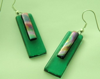 Dichroic Hanging Earrings - Cool Tone Swirled Dichroic Pattern on Medium Green Glass