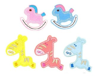 5pcs/lot cartoon zebra  rocking horse embroidered iron on patch  about 5-6cm