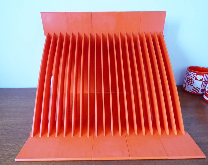 Vintage record rack holder 1970's interlocking orange plastic