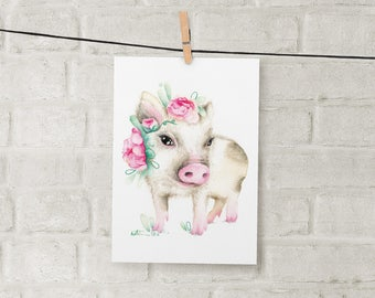 Pig with flower print / poster 5 x 7 / Japanese pink pig / watercolor pencil drawing / handmade by Katrinn Pelletier