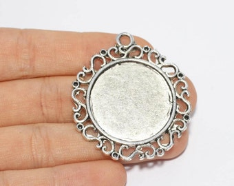 40mm Antique Silver Pendant Tray, Bezel Settings, Cabochon Tray,SKU/TR11