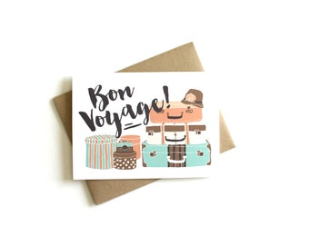 Good luck cards etsy bon voyage card traveling card going away card vacation card greeting card m4hsunfo Images