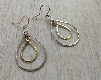 Hammered sterling silver and gold-filled C drop earrings